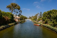 The Venice Canals. Houses along the Venice Canals, in Venice Beach, Los Angeles, California Stock Image