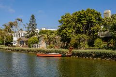 The Venice Canals. Houses along the Venice Canals, in Venice Beach, Los Angeles, California Royalty Free Stock Photos
