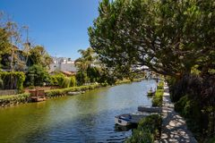 The Venice Canals. Houses along the Venice Canals, in Venice Beach, Los Angeles, California Royalty Free Stock Photo