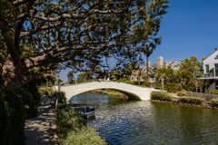 The Venice Canals. Houses along the Venice Canals, in Venice Beach, Los Angeles, California Stock Photos