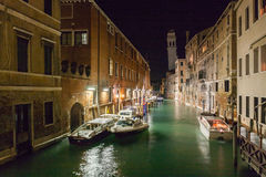 Venice canals at night Stock Photography
