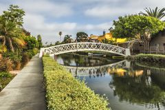 Venice Canals, white bridge - Venice Beach, Los Angeles, California. USA Stock Image