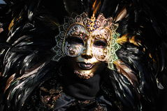 Venice Carneval Mask. Person with black mask, photo taken at the Carneval of Venice Stock Photo