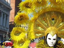Venice carnival. Man in yellow on Venice carnival Stock Photography