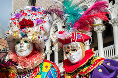 Venice carnival colorful costumes Royalty Free Stock Photography