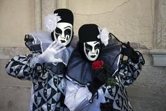 Venice Carnival Figures in black and white costumes and Venetian masks Venice Italy. Venice Carnival Figures in black and white costumes and Venice masks Venice stock photography