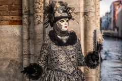 Venice Carnival Italy. Venice Carnival 2018. Decorated mask in Piazza San Marco, Venice, Italy Royalty Free Stock Image