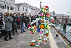 Venice carnival. VENICE, ITALY, FEBRUARY 18, 2012: Carnival of Venice, beautiful masks and costumes at St. Mark's Square Stock Images