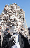 Venice Carnival, Italy. Man wearing an elaborate mask of seashells Stock Photography