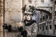 Venice Carnival Italy. Venice Carnival 2018. Decorated mask in Piazza San Marco, Venice, Italy Stock Images