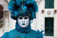 Venice Carnival Mask. Blue woman royalty free stock photography