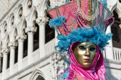 Venice Carnival Mask. Detail of a traditional mask in Venice, Italy stock photography
