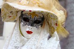 Venice Carnival Mask. Elegant woman stock photo