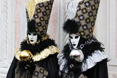 Venice Carnival Mask. Gold and silver pair stock images