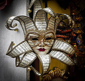 Venice Carnival Mask. A Carnival Mask with musical notes in Venice stock image