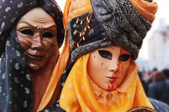 Venice Carnival Mask. Mystic pair royalty free stock photo