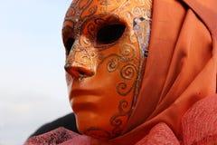 Venice Carnival Mask. Orange man mask stock images