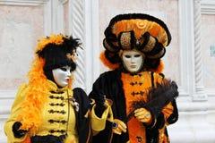 Venice Carnival Mask. Orange pair stock photo
