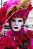 Venice Carnival Mask. Pink Flowers royalty free stock photos