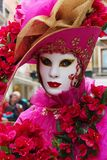 Venice Carnival Mask - Pink Lady. Pink Lady in the mask at Venice Carnival royalty free stock photography