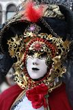 Venice Carnival Mask. Red and black man mask stock image