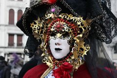 Venice Carnival Mask. Red and gold stock photography