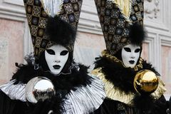 Venice Carnival Mask. Silver and Gold royalty free stock photography