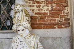 Venice Carnival Mask. Traditional venetian mask posing at Venice Carnival, Italy stock photo