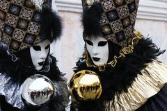 Venice Carnival Mask. Two Bubbles - Silver and Gold royalty free stock photos
