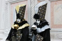 Venice Carnival Mask. Two mask - gold and silver stock photography