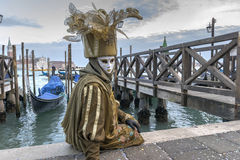 Venice Carnival Mask. Typical venetian mask posing at dusk during the Venice Carnival, Italy stock images
