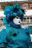 Venice Carnival Mask. Woman in blue royalty free stock images