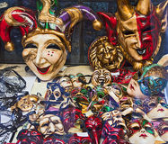 Venice - Carnival masks in window shop Stock Photography