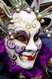 Venice Carnival Participant. S posing for a picture amongst members of the general public and participating at this historically famous world wide annual event Royalty Free Stock Photography