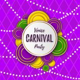 Venice Carnival Party banner with a Lettering, decorative floral elements, white beads and traditional Mardi Gras. Venice Carnival Party banner with a Lettering royalty free illustration