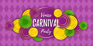 Venice Carnival Party banner with a Lettering, decorative floral elements, white beads and traditional Mardi Gras. Venice Carnival Party horizontal banner with a stock illustration