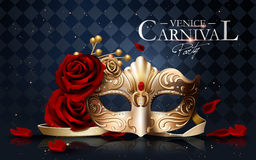 Venice carnival poster. Golden mask with diamonds and roses  on blue geometric background in 3d illustration Royalty Free Stock Photos