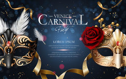 Venice carnival poster. Two gorgeous mask with diamonds  on bokeh blue background in 3d illustration Stock Image