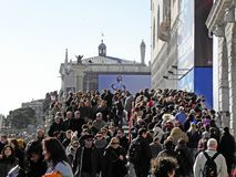 Venice carnival`s crowd,1. Carnival in Venice, Italy, Europe, fancy crowd, 1 Royalty Free Stock Image