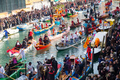 Venice Carnivale boats. Crowds of boats and rowers having fun at the Venice Carnival Stock Photos