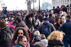 Venice Carnivale crowds Royalty Free Stock Photo
