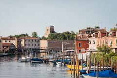 Venice, Castello wiew, Venice, Italy. With boats and pierses Stock Photos