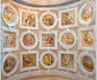 Venice - The ceiling fresco with the scenes from Apocalypse in Capella dei Re Magi chapel in church San Francesco della Vigna stock photos