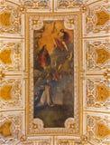 VENICE, ITALY - MARCH 12, 2014: Ceiling of sacristy of Basilica di san Giovanni e Paolo church. Central motive - 'Allegory of Fa royalty free stock photos