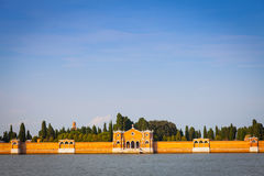 Venice Cemetery of San Michele from the waterfront Royalty Free Stock Photo