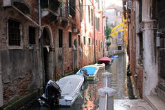 Venice center. Photo image  with  construction and boats venice canal Royalty Free Stock Photography