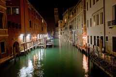 Venice channel at night Stock Images