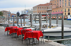 Venice: channel terrace Royalty Free Stock Photo