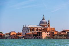 Venice Church Beyond Channel stock images