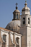 Venice - Church of the Jesuits. An architectural detail of the Jesuits church in Venice - Zattere, with counterfort walls, dome and belfry Stock Image